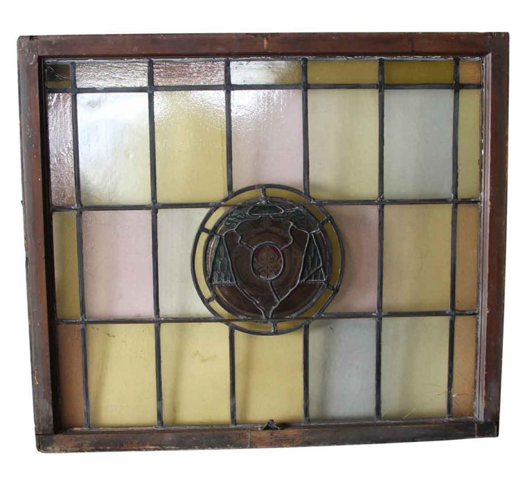 1910 Arts & Crafts Stained Leaded Glass Window with Ecclesiastical Motif In Good Condition For Sale In New York, NY