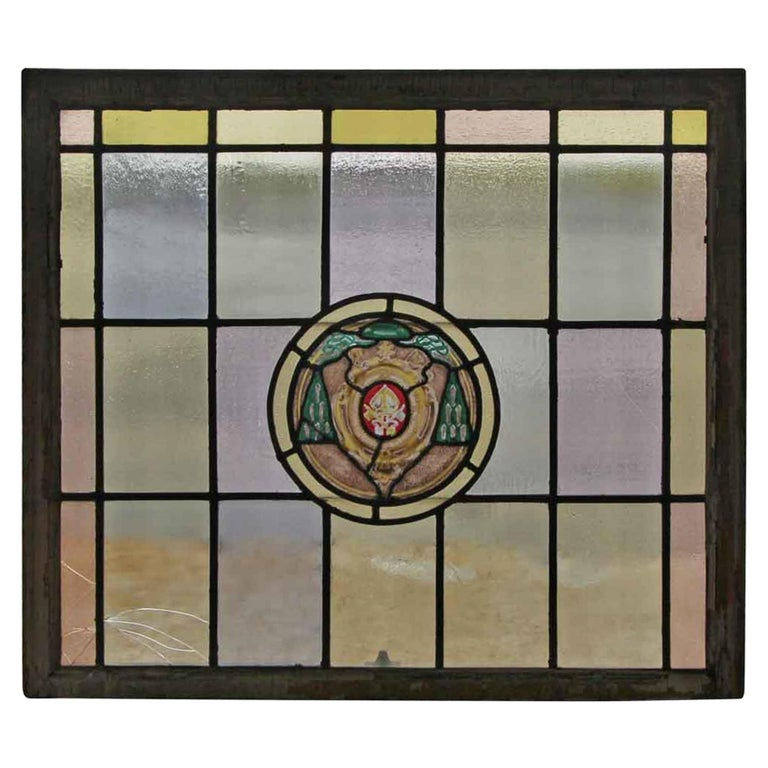 1910 Arts & Crafts Stained Leaded Glass Window with Ecclesiastical Motif For Sale