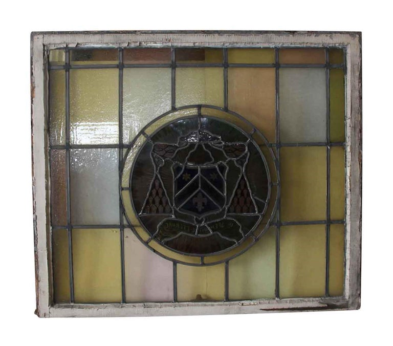 American 1910 Arts & Crafts Stained Leaded Glass Window with Fleur de Lis and Star Motif For Sale