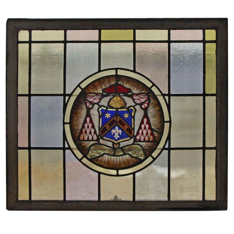 1910 Arts & Crafts Stained Leaded Glass Window with Fleur de Lis and Star Motif For Sale