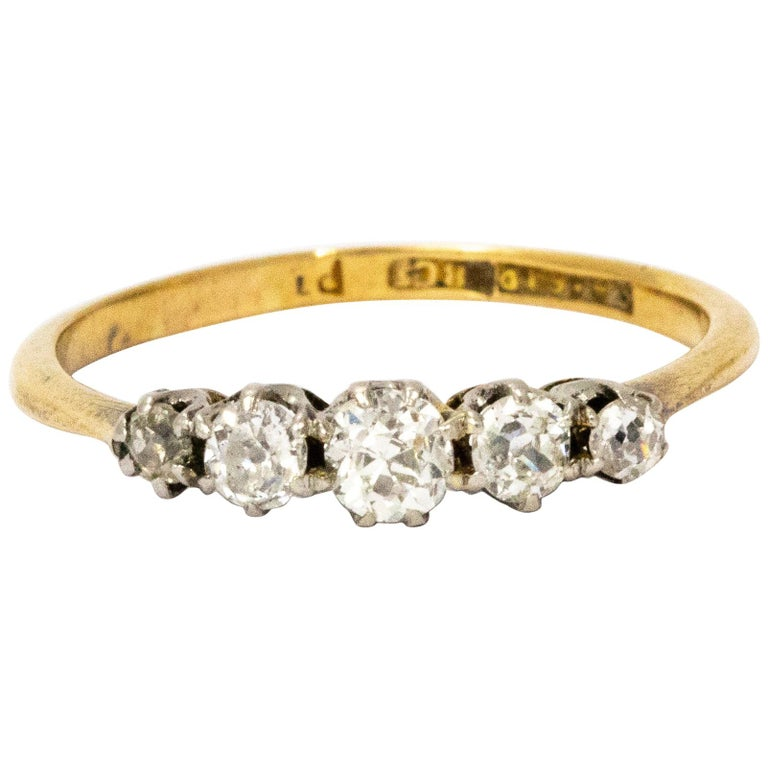 1910 Diamond Platinum 18 Carat Gold Five-Stone Ring For Sale