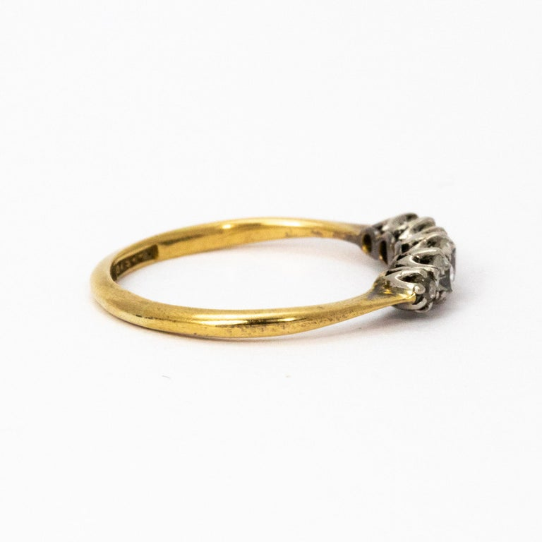 1910 Diamond Platinum 18 Carat Gold Five-Stone Ring In Good Condition For Sale In Chipping Campden, GB