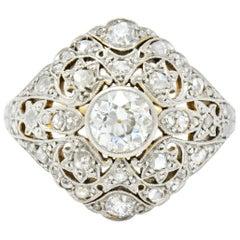 1910 Edwardian 1.35 Carat Diamond Platinum-Topped 18 Karat Gold Dinner Ring