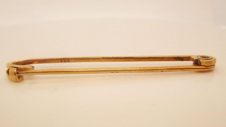 Women's or Men's 1910 Edwardian 14 Karat Yellow Gold Collar or Stock Pin For Sale
