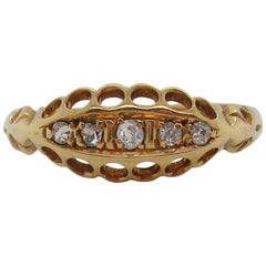 1910 Edwardian 18 Karat Yellow Gold 5 Diamond Band with Full English Hallmarks