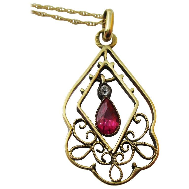1910 Edwardian Austrian 14 Karat Gold Ruby Diamond Pendant For Sale