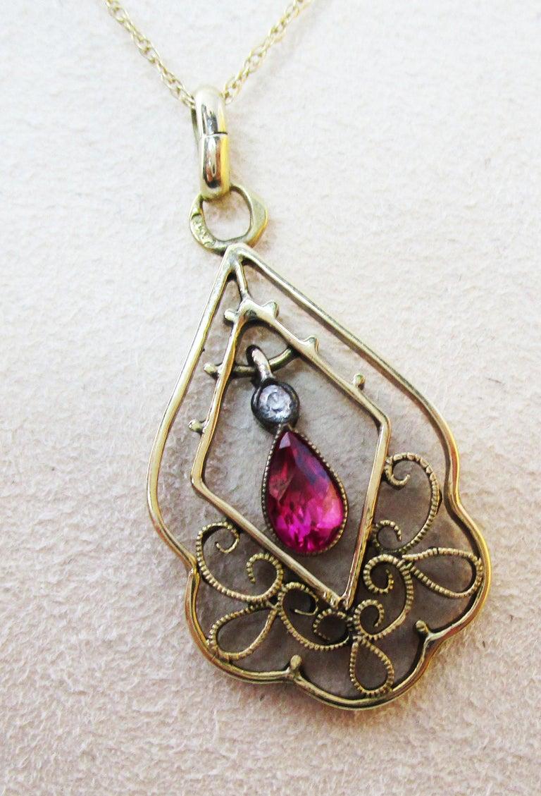 1910 Edwardian Austrian 14 Karat Gold Ruby Diamond Pendant In Excellent Condition For Sale In Lexington, KY