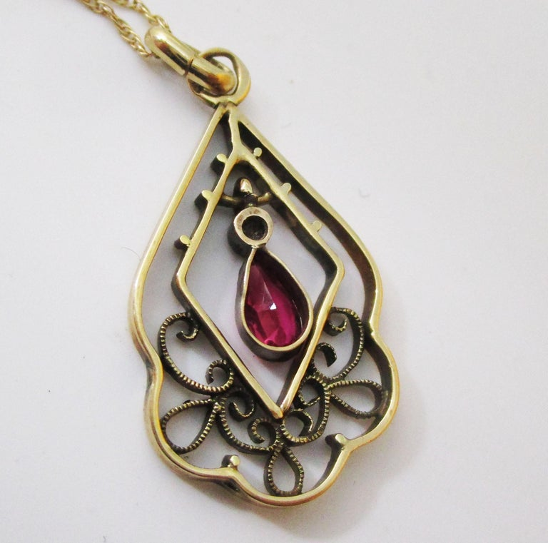 Women's or Men's 1910 Edwardian Austrian 14 Karat Gold Ruby Diamond Pendant For Sale