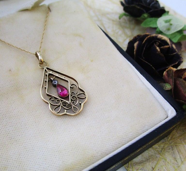 1910 Edwardian Austrian 14 Karat Gold Ruby Diamond Pendant For Sale 2