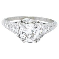1910 Edwardian Byard F. Brogan 1.25 Carats Diamond Platinum Engagement Ring