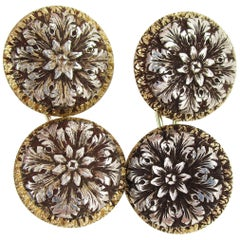 1910 Edwardian Hand Engraved 18 Karat Two-Tone Flower Cufflinks