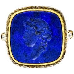 1910 Edwardian Lapis Intaglio Platinum-Topped 14 Karat Gold Signet Ring