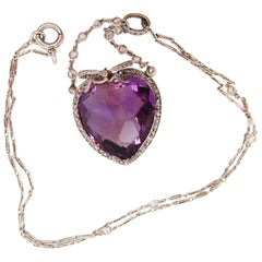 1910 Edwardian Platinum on Yellow Gold Diamond 33+ Carat Amethyst Heart Necklace