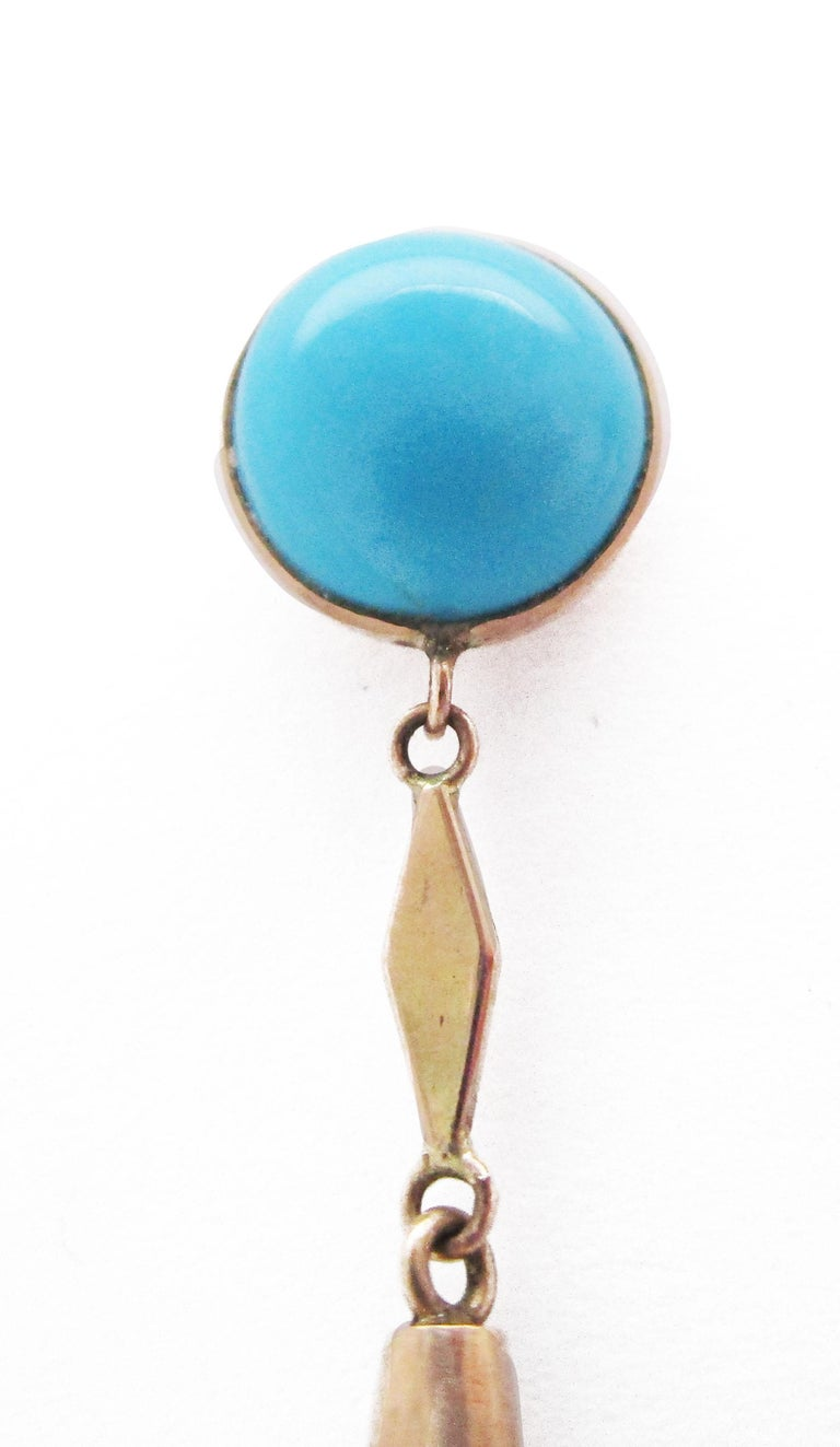 1910 Edwardian Sleeping Beauty Turquoise Dangle Drop Earrings In Excellent Condition For Sale In Lexington, KY
