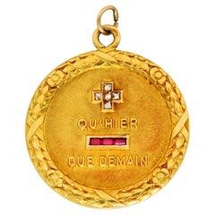 1910 French A. Augis Diamond Ruby 18 Karat Gold Love Poem Pendant Charm