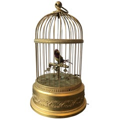 1910 French Automaton Singing Bird in Gilt Brass Cage