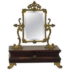 1910 French Jewelry Box with Brass Mirror
