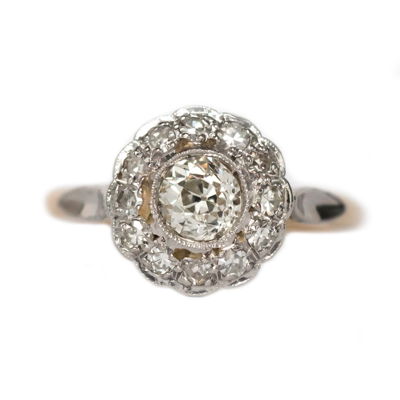 1910 GIA Certified .55 Carat Old European Brilliant Cut Diamond Engagement Ring