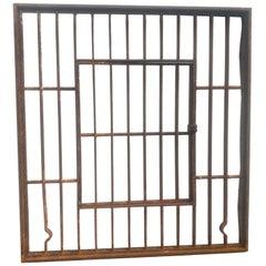 1910 Iron Jail Window with Single Door Opening