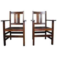 1910 L & J.G. Stickley Mission Arts & Crafts Oak Leather Dining Armchairs