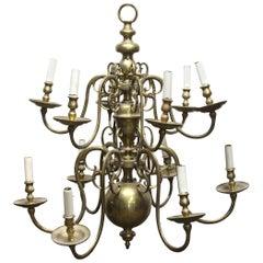 1910 Large Cast Brass Twelve Light Williamsburg Chandelier
