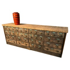 1910 Oak Multi Drawer Apothecary Cabinet