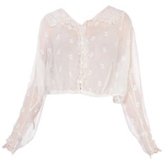 1910 Organic White Cotton Blouse With Hand Made Lace Trim