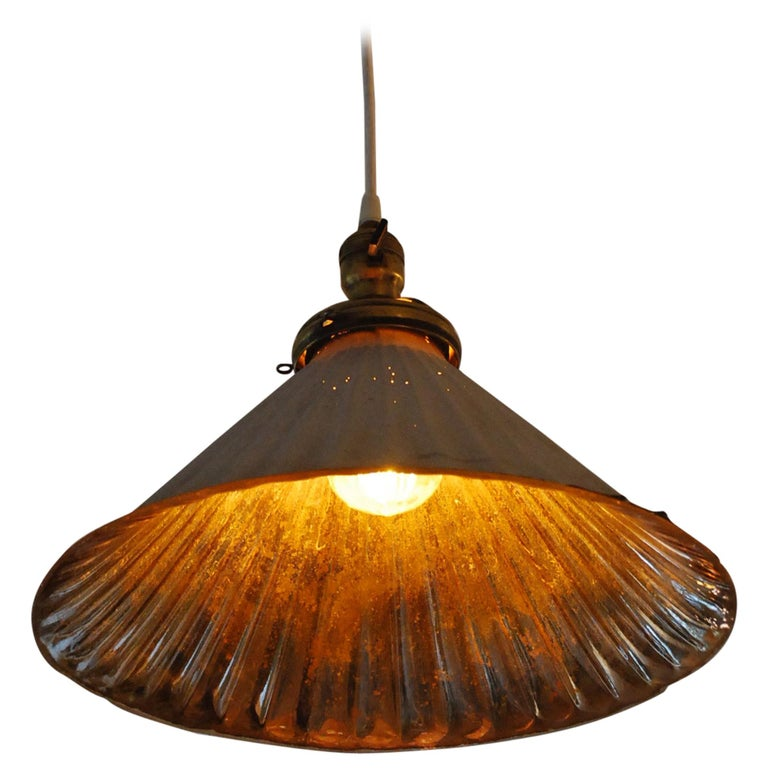 1910 Rare Large Mercury Glass Pendant Lights For Sale