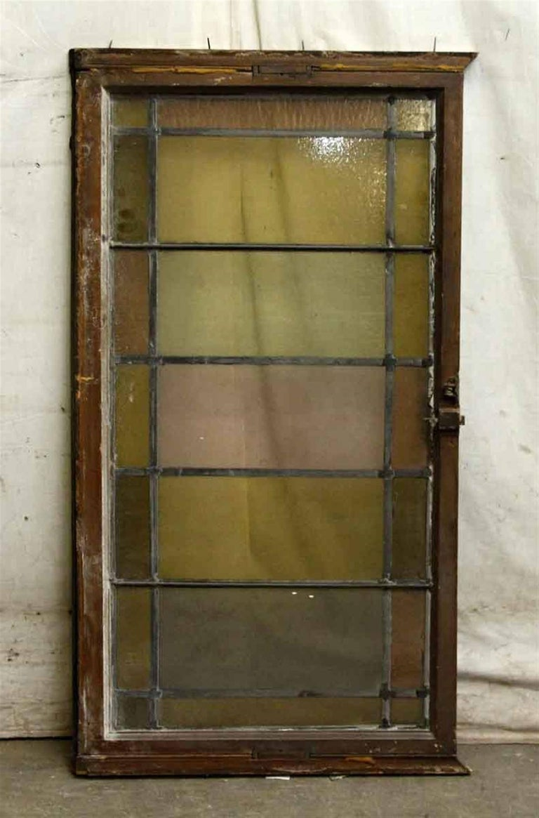 American 1910 Reclaimed Pastel Colored Stained Glass Rectangular Window For Sale
