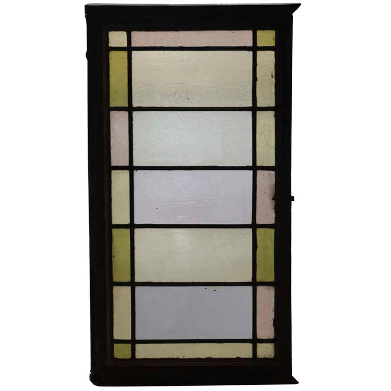1910 Reclaimed Pastel Colored Stained Glass Rectangular Window For Sale