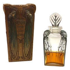 1910 Rene Lalique Cigalia Perfume Bottle for Roger & Gallet Stained Glass & Box