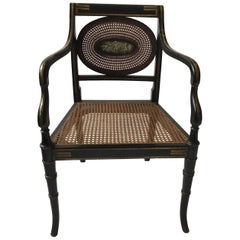 1910 Sheraton Style Hand Caned Armchair with Cherub Plaque