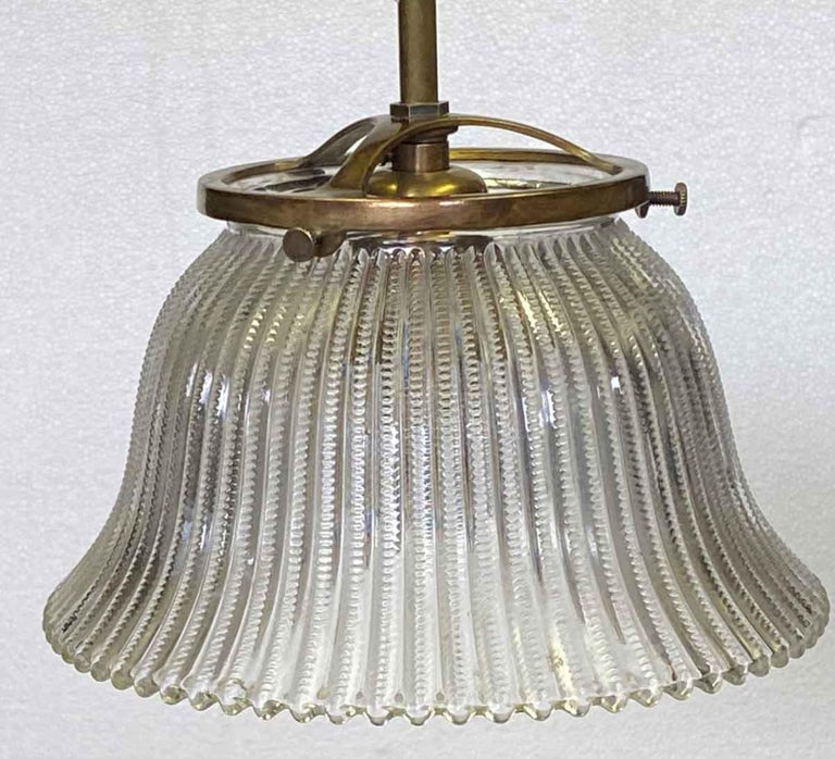 Industrial 1910 Simple Pendant Light with Original Holophane Glass Shade For Sale