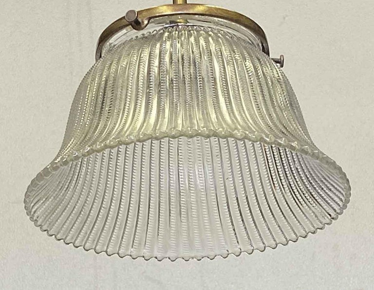 American 1910 Simple Pendant Light with Original Holophane Glass Shade For Sale