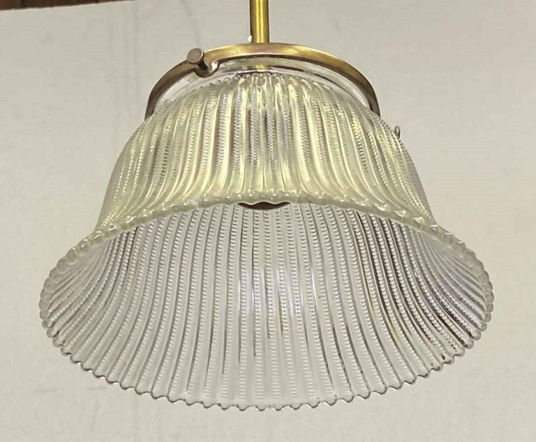 1910 Simple Pendant Light with Original Holophane Glass Shade In Good Condition For Sale In New York, NY