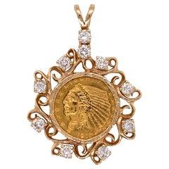 1910 US Indian Head $2.50 Gold Coin Diamond Pendant