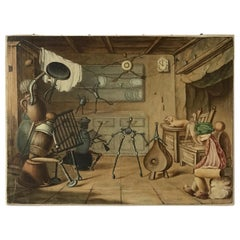 1910 Whimsical Folk Painting of Kitchen Utensils Coming to Life