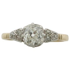 1910s 1.16 Carat Diamond and Yellow Gold Solitaire Ring