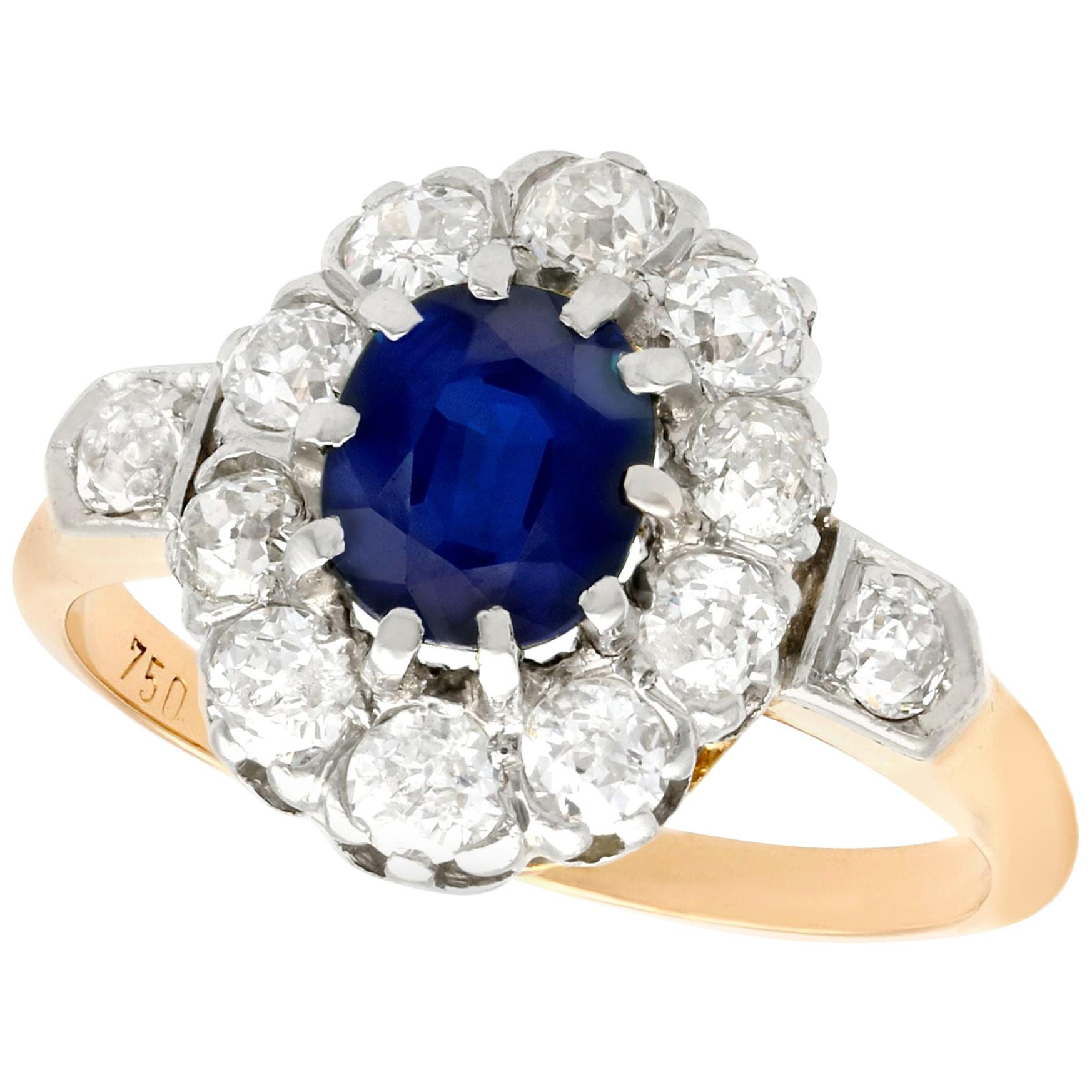 1910s 1.18 Carat Sapphire and Diamond Yellow Gold Cluster Ring
