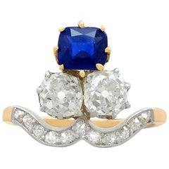1910s 1.35 Carat Sapphire 2.06 Carat Diamond Yellow Gold Cocktail Ring