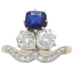 1910s 1.35 Carat Sapphire and 2.06 Carat Diamond Yellow Gold Cocktail Ring