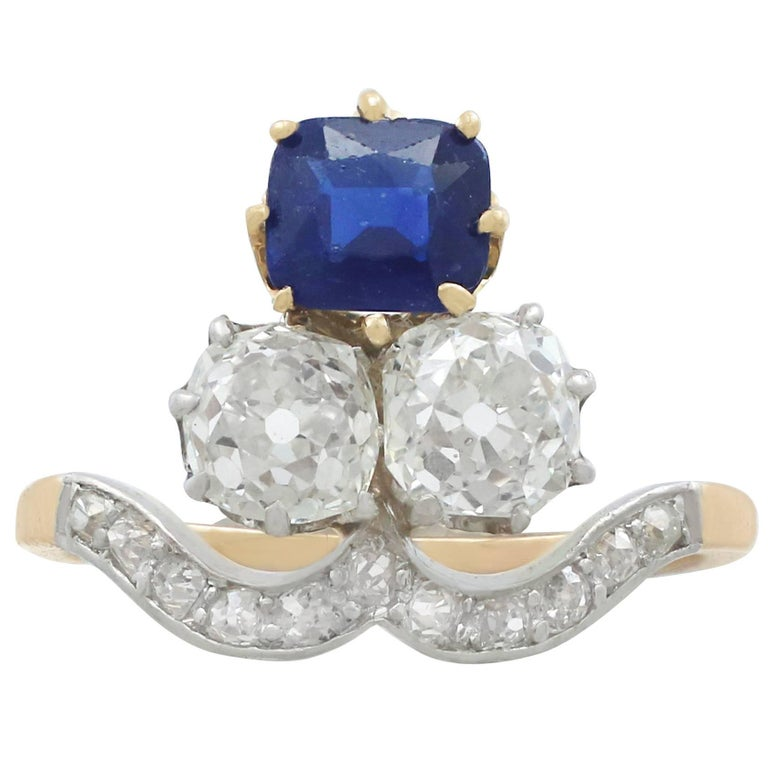 1910s 1.35 Carat Sapphire and 2.06 Carat Diamond Yellow Gold Cocktail Ring