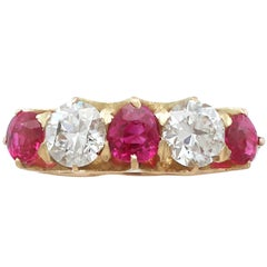 1910s 1.42 Carat Ruby and 1.39 Carat Diamond Gold Cocktail Ring