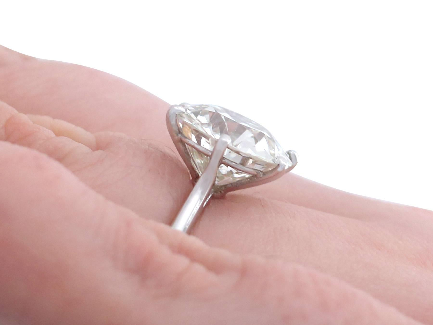 1910s-1950s 4.60 Carat Diamond and Platinum Solitaire Ring at 1stdibs