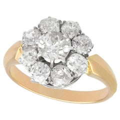 Antique 1910s 2.39 Carat Diamond Yellow Gold Cluster Ring
