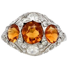 1910s 2.55 Carat Citrine and Diamond Gold Cocktail Ring