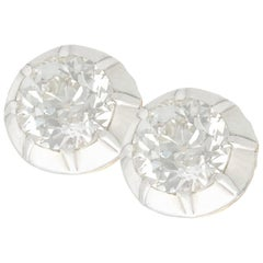 1910s 3.58 carat Diamond and Yellow Gold Silver Set Stud Earrings