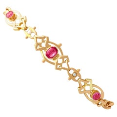 1910s Antique 1.20 Carat Pink Tourmaline and Seed Pearl Yellow Gold Bracelet