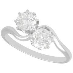 1910s Antique 1.29 Carat Diamond and Platinum Twist Ring