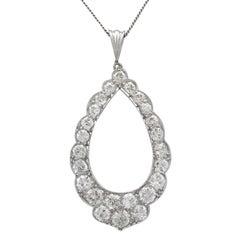 1910s Antique 2.35 Carat Diamond and Platinum Pendant
